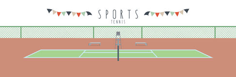 Tennis (Sports). Vector illustration of a tennis court royalty free illustration