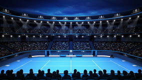 Tennis stadium with evening sky and spectators Stock Images
