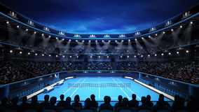 Tennis stadium with night sky and spectators Royalty Free Stock Photos