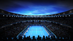 Tennis stadium with night sky and spotlights Royalty Free Stock Image