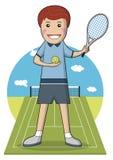 Tennis sull'illustrazione di vettore dell'argilla Illustrazione Vettoriale