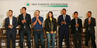 Tennis superstars during press conference before BNP Paribas Showdown 10th Anniversary tennis event at Essex House Hotel in NY Stock Photos