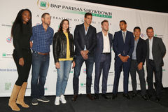 Tennis superstars during press conference before BNP Paribas Showdown 10th Anniversary tennis event at Essex House Hotel in NY Stock Photo