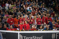 Tennis supporters, fans applauding in the tribune Royalty Free Stock Photo