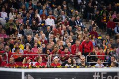 Tennis supporters, fans applauding in the tribune Stock Images