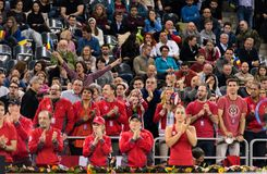 Tennis supporters, fans applauding in the tribune Royalty Free Stock Image