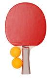 Tennis table racket and balls Stock Photos