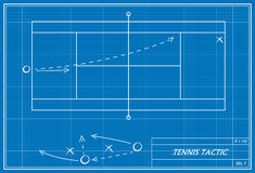Tennis tactic on blueprint Royalty Free Stock Photo