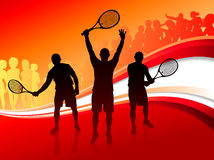 Tennis Team with Red Abstract Crowd Stock Image