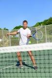 Tennis - Tennisspeler die salvo raken door het net royalty-vrije stock foto's