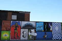 Tennis theme mural art inspired by Grand Slam champion Serena Williams victories. NEW YORK - NOVEMBER 8, 2015: Tennis theme mural art inspired by Grand Slam Royalty Free Stock Image