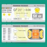 Tennis Ticket Modern Design. Tennis ball, field, stadium scheme with zone Stock Photo