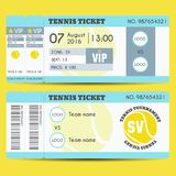 Tennis Ticket Modern Design Stock Photos