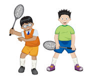 Tennis time. High detailed illustration of two boys playing tennis Royalty Free Stock Image