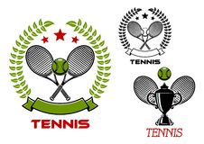 Tennis tournament emblems with sport items Royalty Free Stock Photography