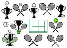 Tennis tournament icons. Design elements for tennis logo or emblem with crossed rackets, balls, trophy cups, court in black and green colors isolated on white Royalty Free Stock Photo