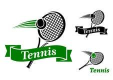 Tennis trägt Embleme zur Schau Stockfoto