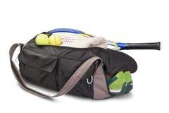 Tennis trägt Tasche zur Schau. Stockfoto
