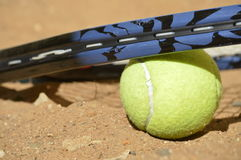 Tennis training in wilderness Stock Image