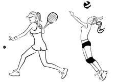 Tennis- und Salvemädchen stock abbildung