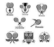 Tennis vector icons for tournament award badges Royalty Free Stock Images