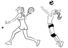 Tennis and volley girl. Illustration of two girls playing tennis and volleyball Royalty Free Stock Photos