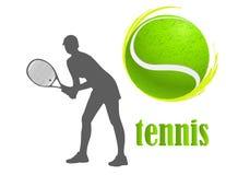 tennis Vrouw Geïsoleerdee vector Stock Afbeelding