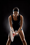 Tennis woman black ready to play racket Royalty Free Stock Images