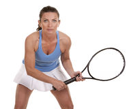 Tennis woman. Brunette playing tennis on white background Stock Photography