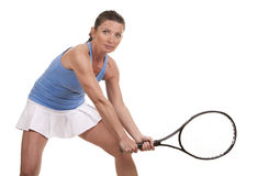 Tennis woman. Brunette playing tennis on white background Stock Photo