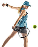 Tennis woman isolated silhouette. One young caucasian tennis woman isolated in silhouette on white background Stock Photography