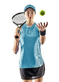 Tennis woman isolated silhouette. One young caucasian tennis woman isolated in silhouette on white background Royalty Free Stock Images
