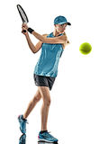 Tennis woman isolated silhouette royalty free stock images