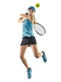 Tennis woman isolated silhouette. One young caucasian tennis woman isolated in silhouette on white background Royalty Free Stock Photos