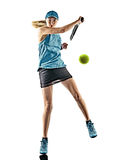 Tennis woman isolated silhouette. One young caucasian tennis woman isolated in silhouette on white background Stock Photos