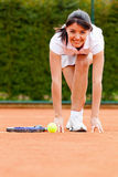 Tennis woman racing Royalty Free Stock Photo