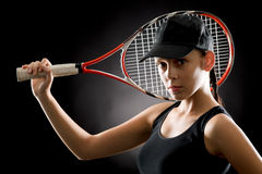 Tennis woman sport hold racket on black Stock Photography