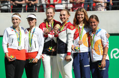 Tennis women's doubles medalists team Switzerland (L), team Russia and team Czech during medal ceremony Stock Photo