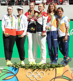 Tennis women's doubles team Swiss (L), team Russia and team Czech during medal ceremony of the Rio 2016 Olympics Stock Photography