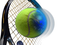 Tennis world. Close  view to a tennis ball which is going to be struck by a racket. A part of the tennis ball is the Earth Royalty Free Stock Photo