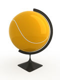 Tennis is world. Tennis ball - terrestrial globe. Isolated Stock Image