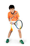 Tennis. Young boy playing tennis, Isolated over white Royalty Free Stock Images