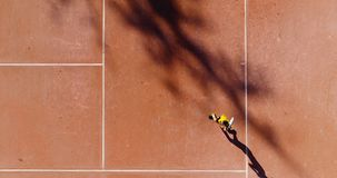 Tennis young players. Aerial view Stock Images
