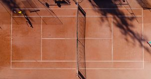 Tennis young players. Aerial view Royalty Free Stock Images