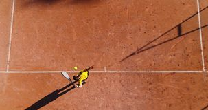 Tennis young players. Aerial view Royalty Free Stock Image