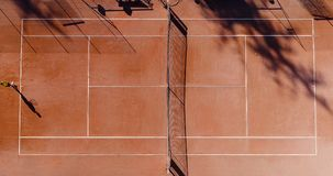 Tennis young players. Aerial view Royalty Free Stock Photography