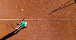 Tennis young players. Aerial view Royalty Free Stock Photos