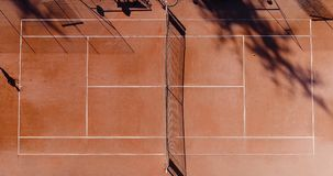 Tennis young players. Aerial view Stock Photo