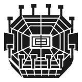 Tennisarenasymbol, enkel stil stock illustrationer