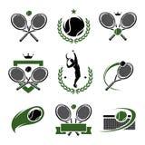 Tennisaufkleber und -ikonen eingestellt. Vektor Lizenzfreie Stockfotos
